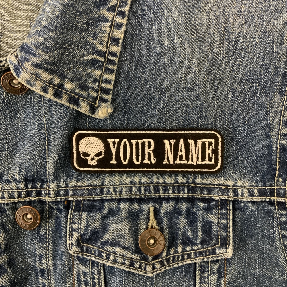 "1 Line Custom Personalised Skull Felt Patch - 4"" x 1"" - Standard Font"