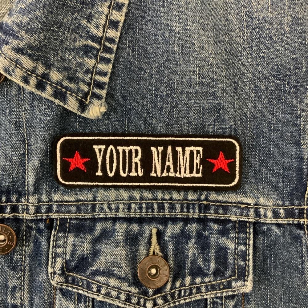 "1 Line Stars Custom Personalised Felt Patch - 4"" x 1"""