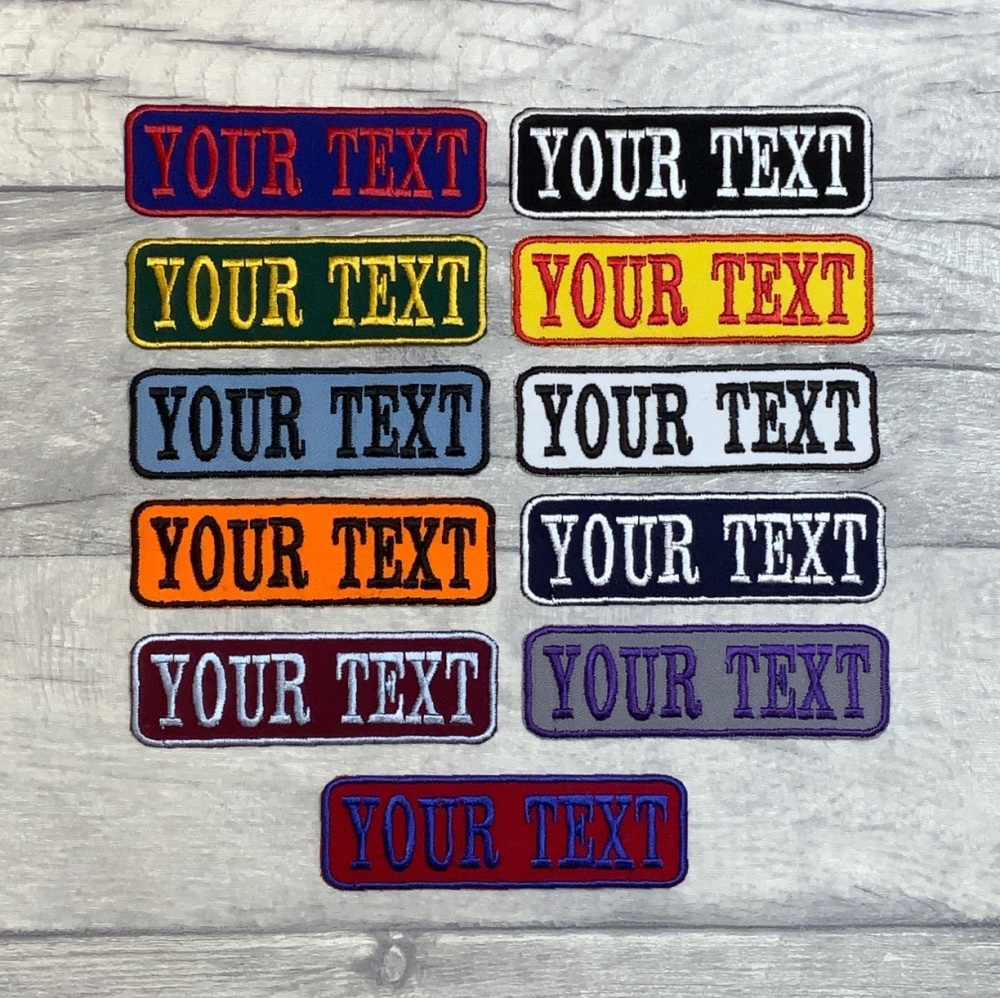 Iron On Twill Personalised Name Tag Embroidered Patch