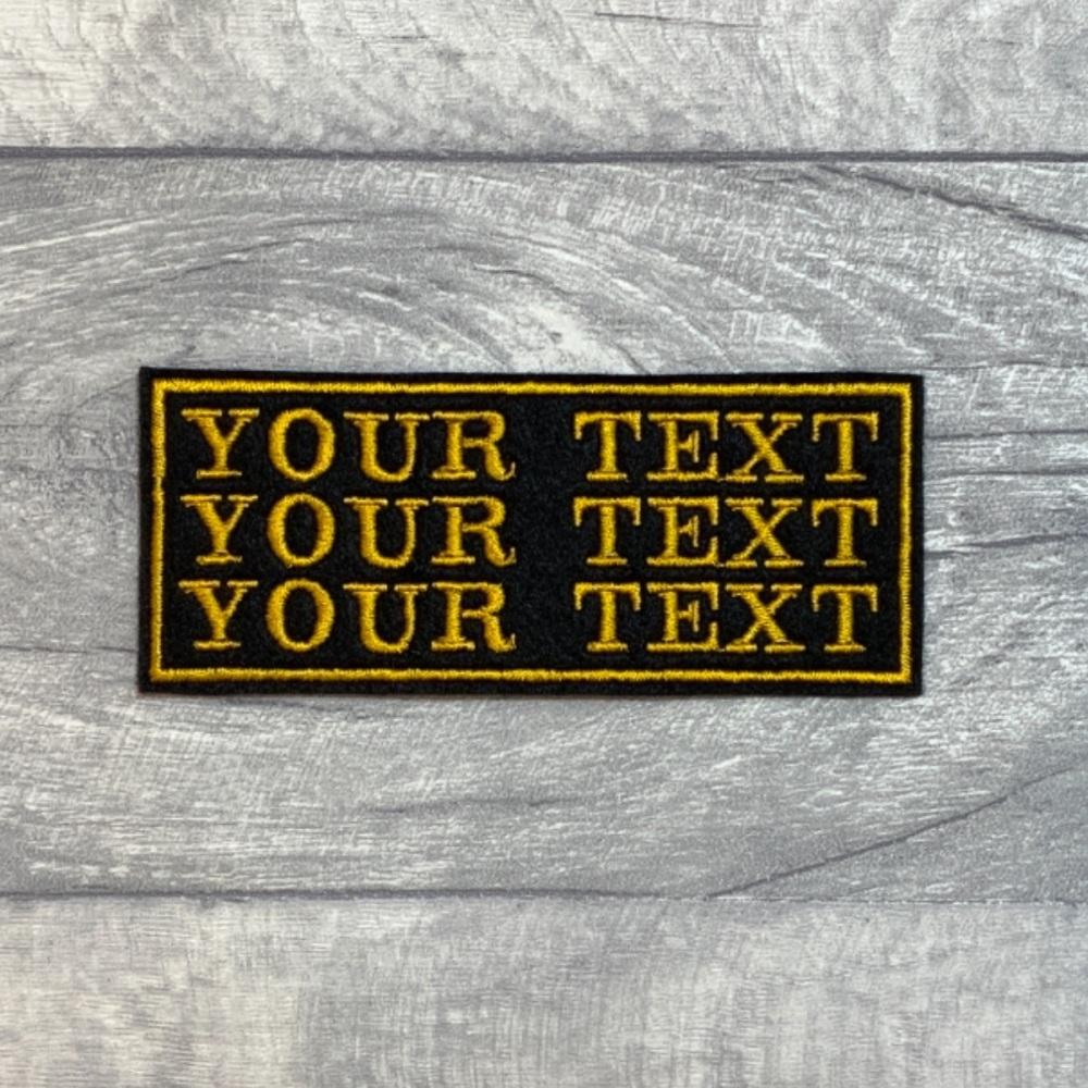 3 Line Custom Personalised Felt Patch - 10cm x 4cm - Standard Font