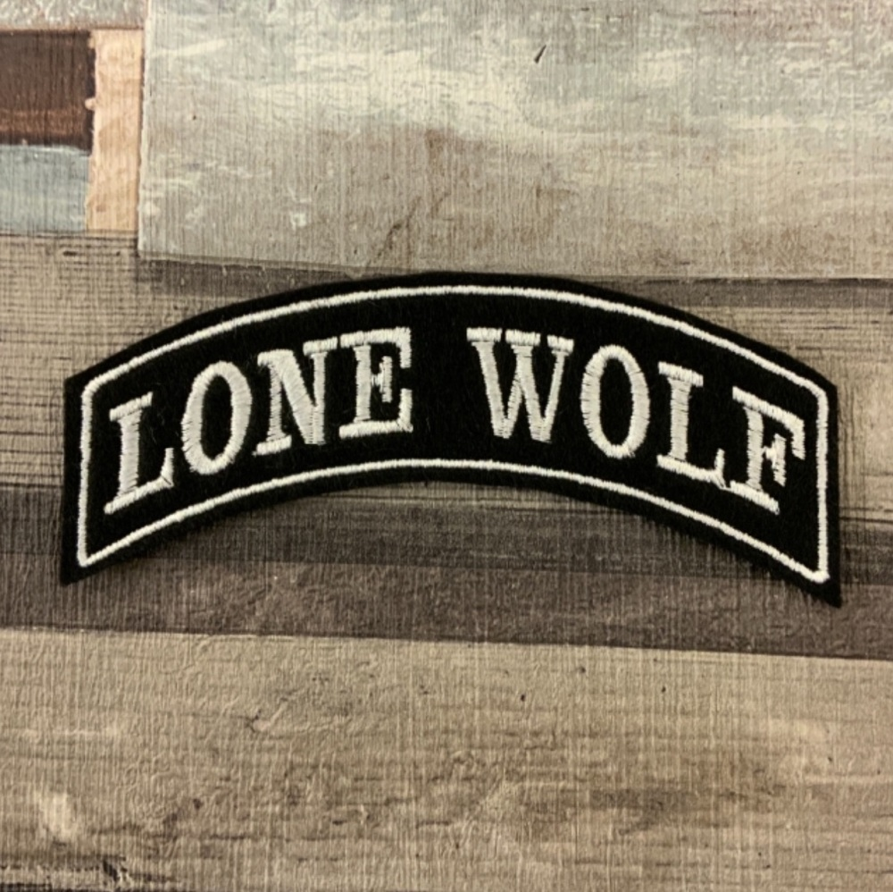 Lone Wolf - Top Rocker - Embroidered Felt Patch #0044