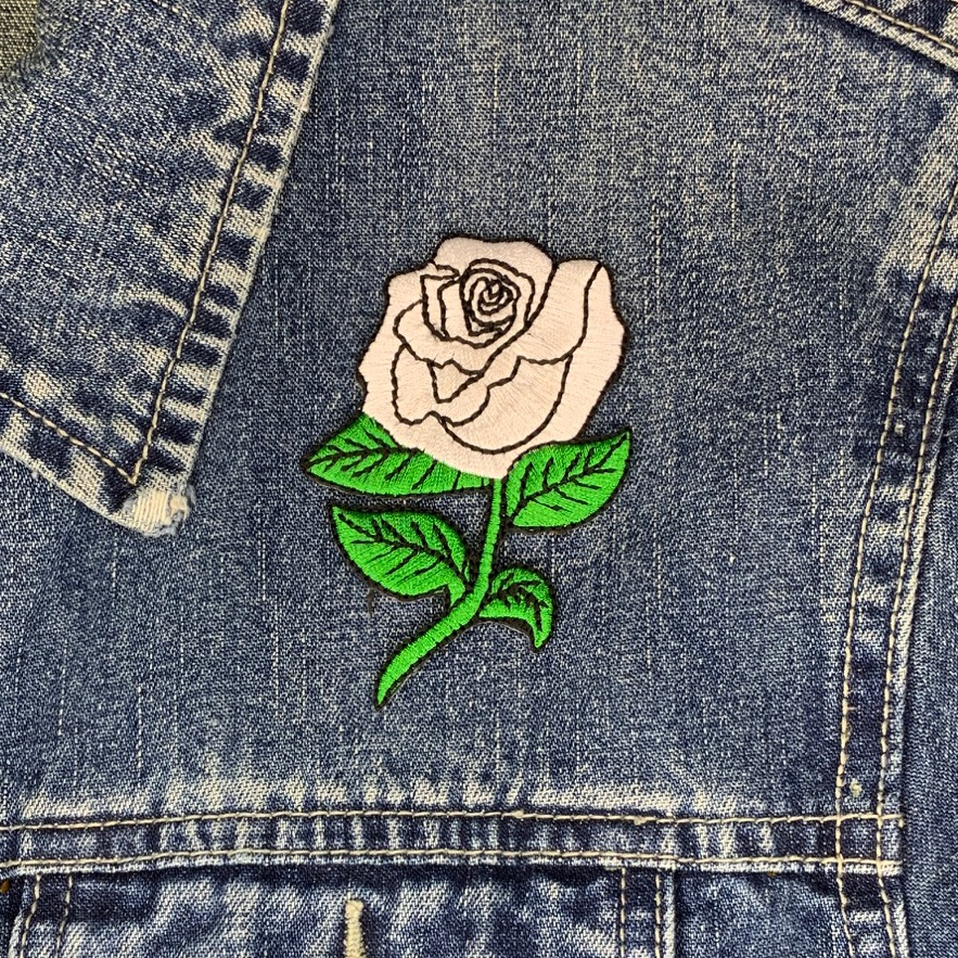 White Rose Fabric Embroidered Patch Lady Rider Flower