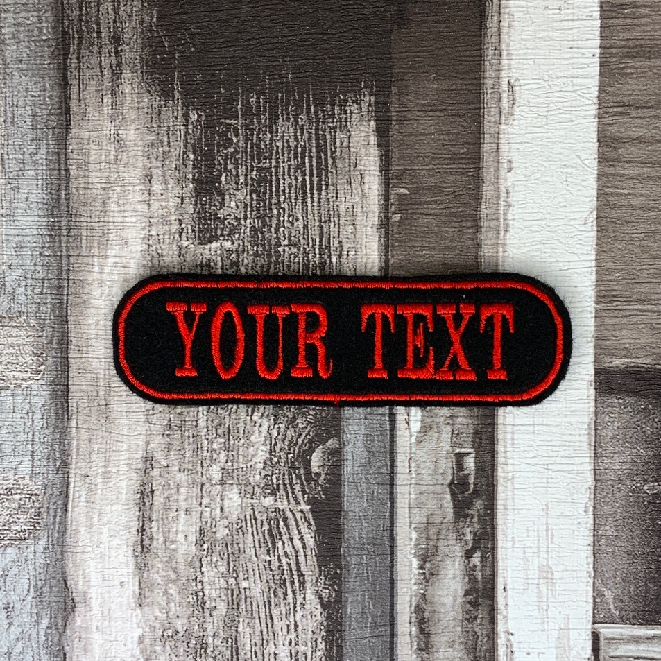 """1 Line Curved Custom Personalised Felt Patch - 4"""" x 1"""" - Standard Font"""