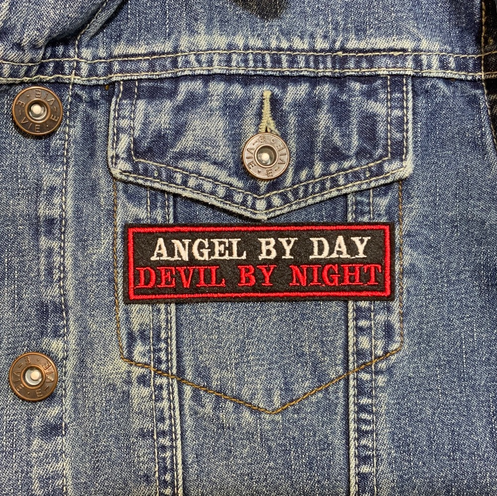 Angel By Day Devil By Night Embroidered Felt Slogan Patch