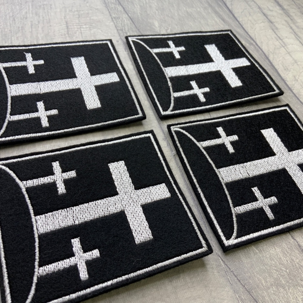 Three Crosses Embroidered Felt Christian Biker Patch