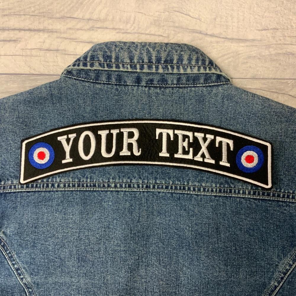"11 1/2"" Large Back Top MOD Rocker Custom Personalised Felt Patch"