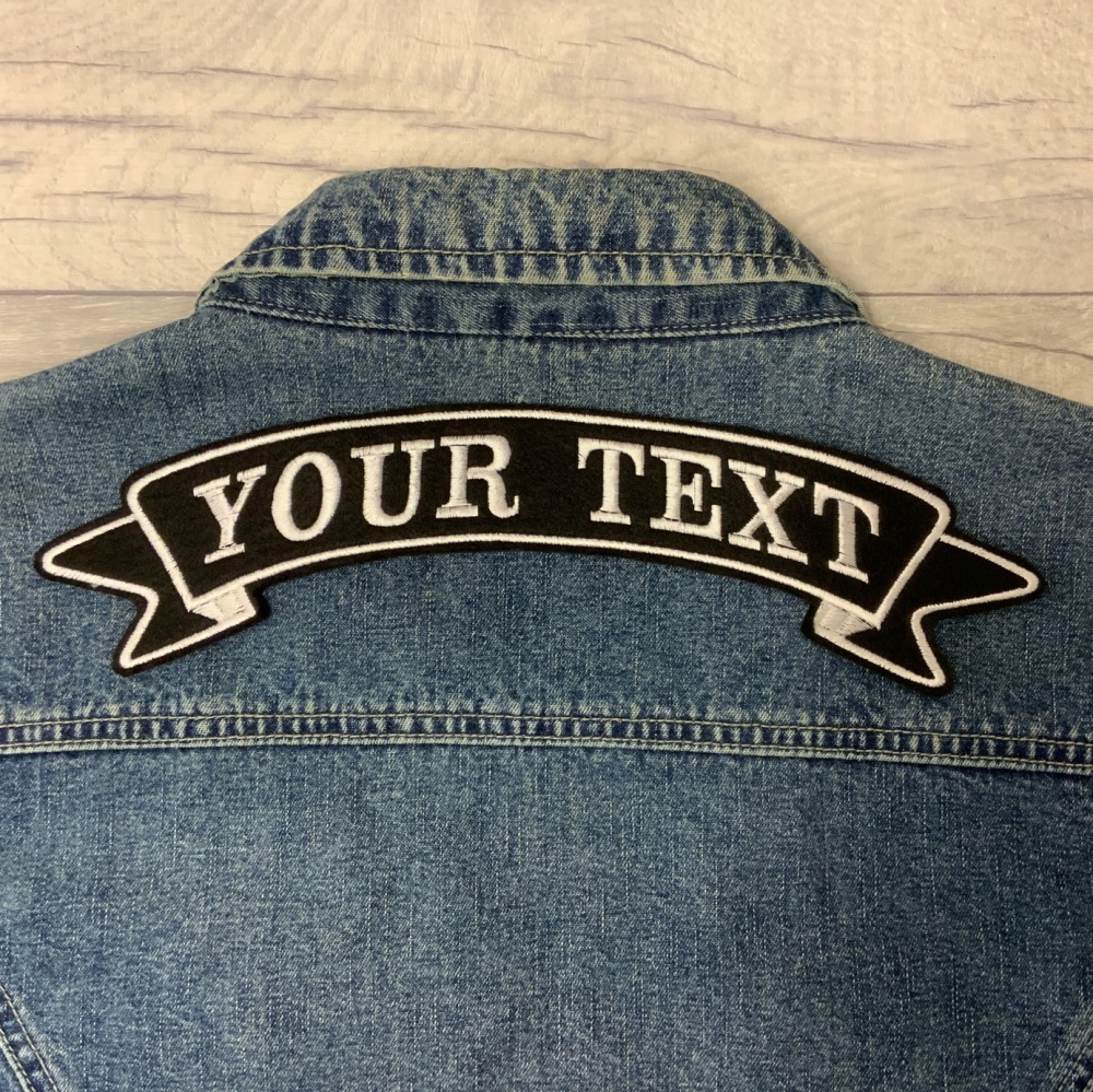 "11 3/4"" Large Back Top Ribbon Custom Personalised Felt Patch - Standard Font"