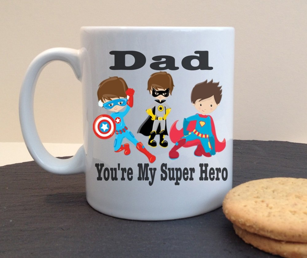 Dad You're My Super Hero Ceramic Fathers Day / Birthday Personalised Mug