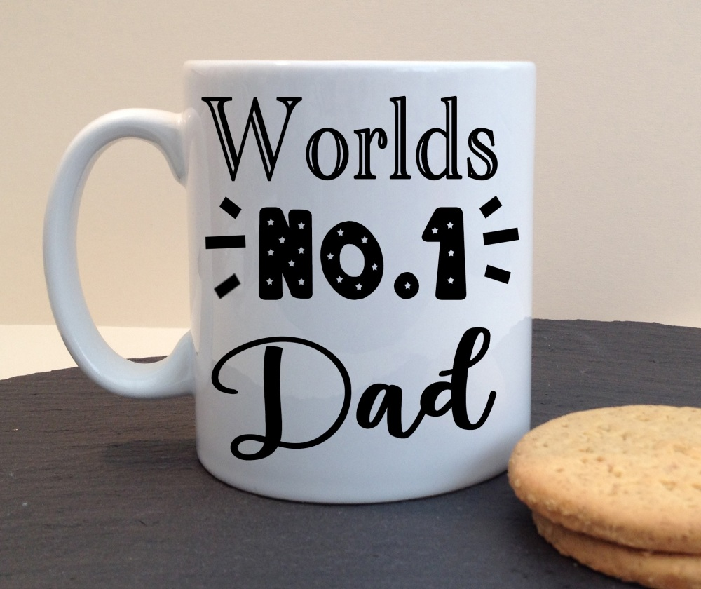 Worlds No.1 Dad Ceramic Fathers Day / Birthday Personalised Mug