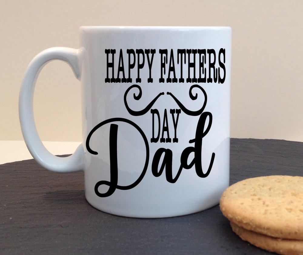 Happy Fathers Day Dad Moustache Ceramic Fathers Day / Birthday Personalised Mug