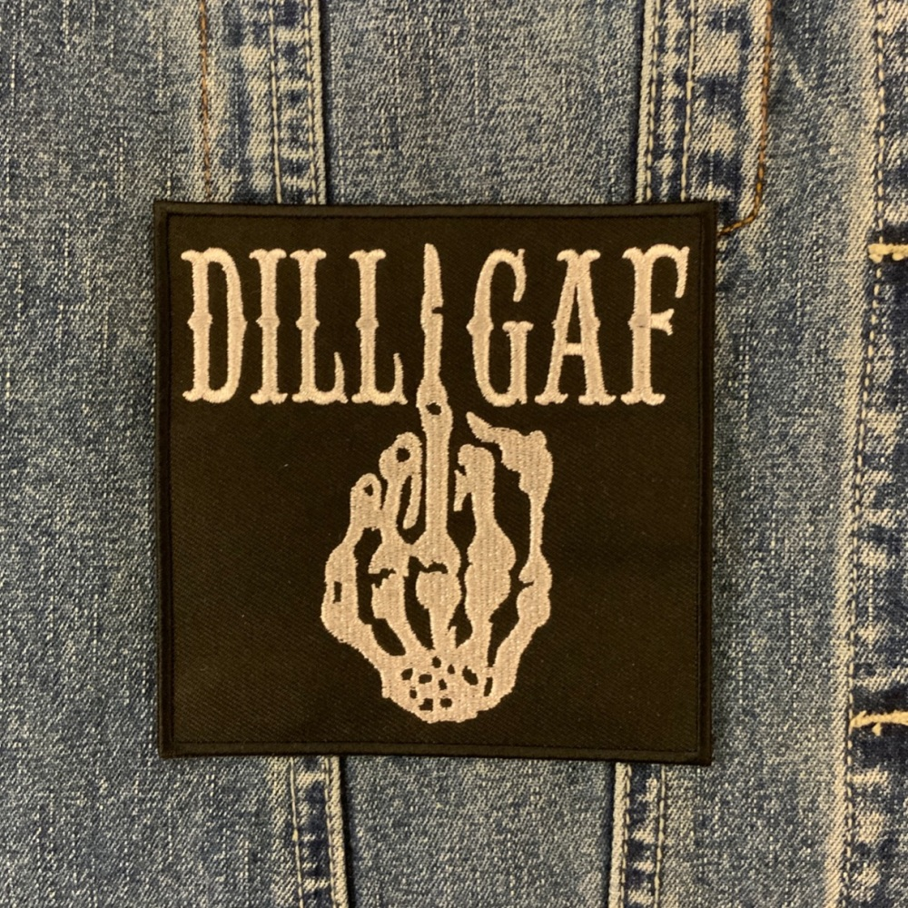 DILLIGAF Fabric Embroidered Patch Skeleton middle Finger