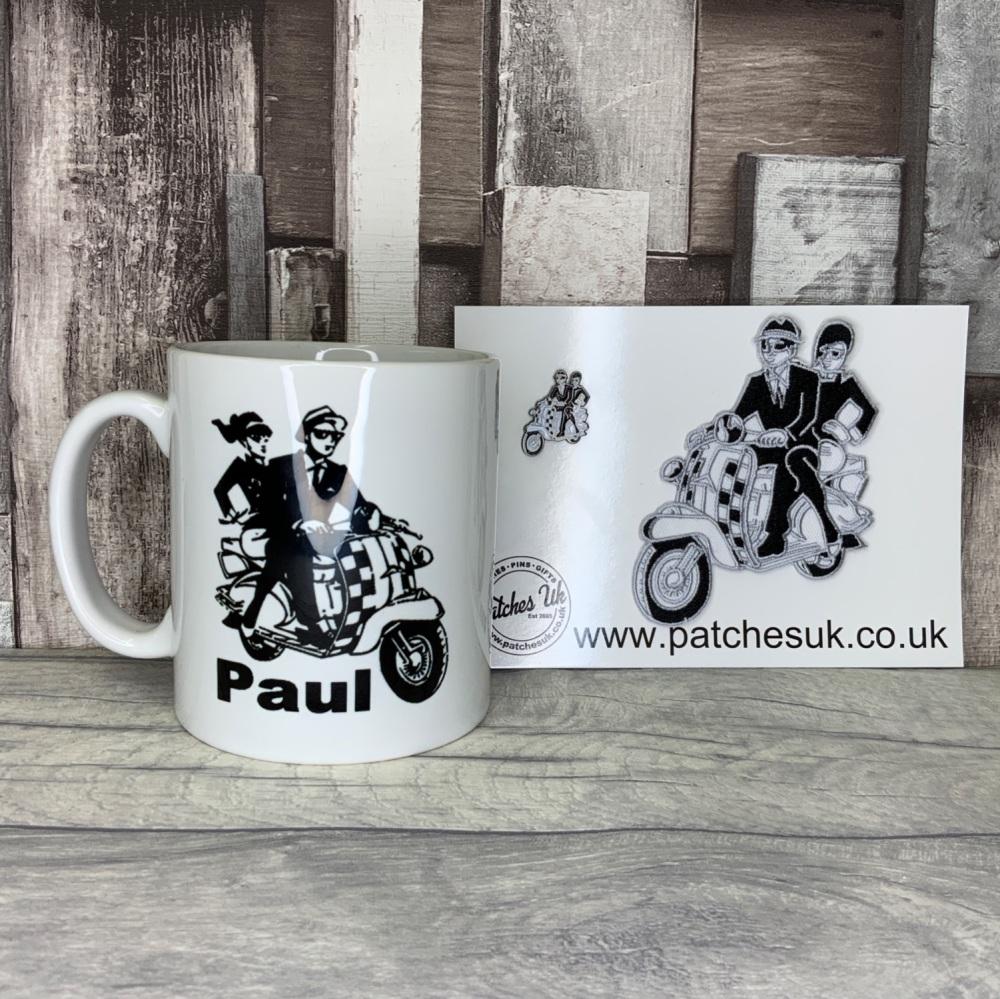 SKA Scooter Couple Gift Set - Personalised white ceramic mug, embroidered p