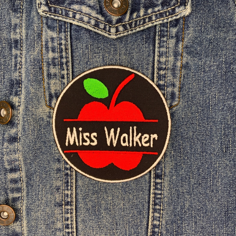 Personalised Teacher Apple Circle Name Iron On Twill Embroidered Patch