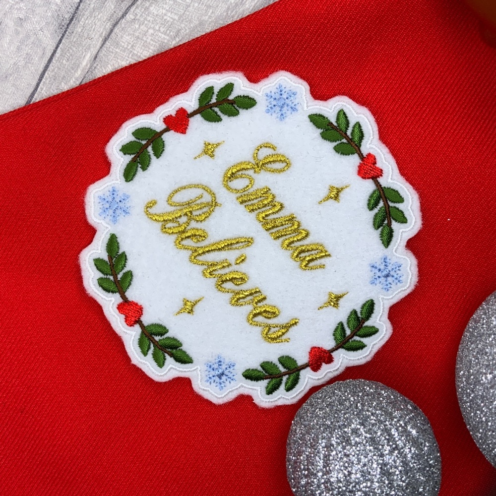 Personalised Believes Name Embroidered Christmas Wreath Patch