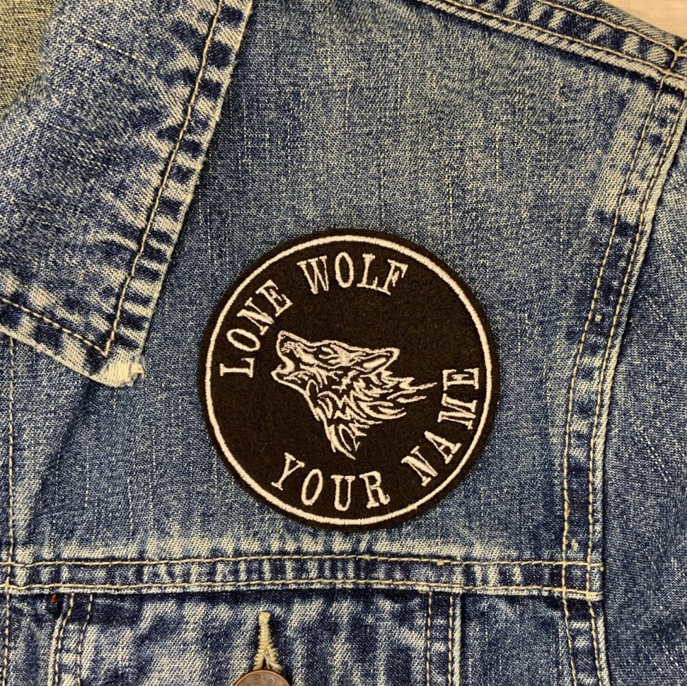 Personalised Lone Wolf Embroidered Felt Patch