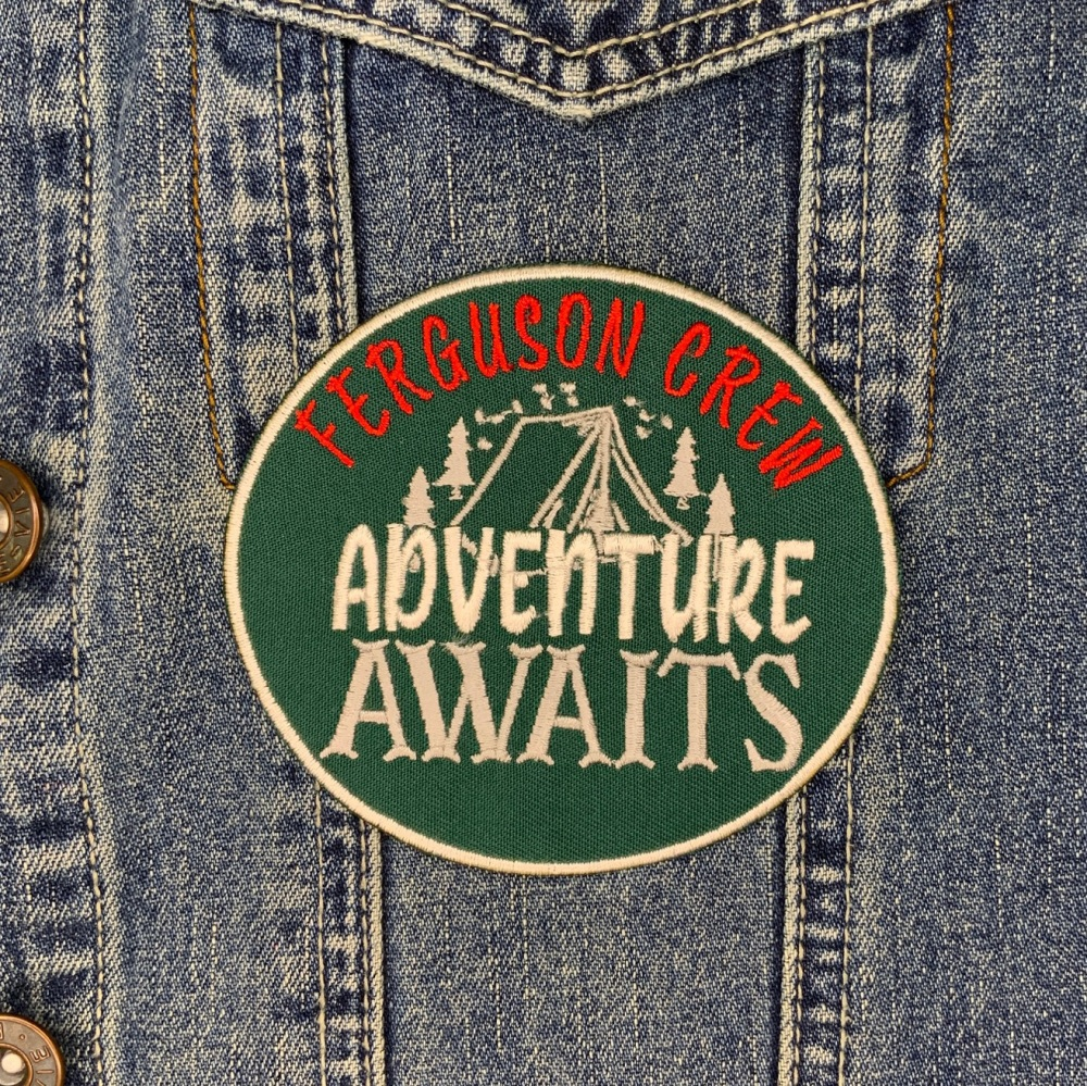 Adventure Awaits Personalised Family Name Crew Camping Summer Holidays Embroidered Patch