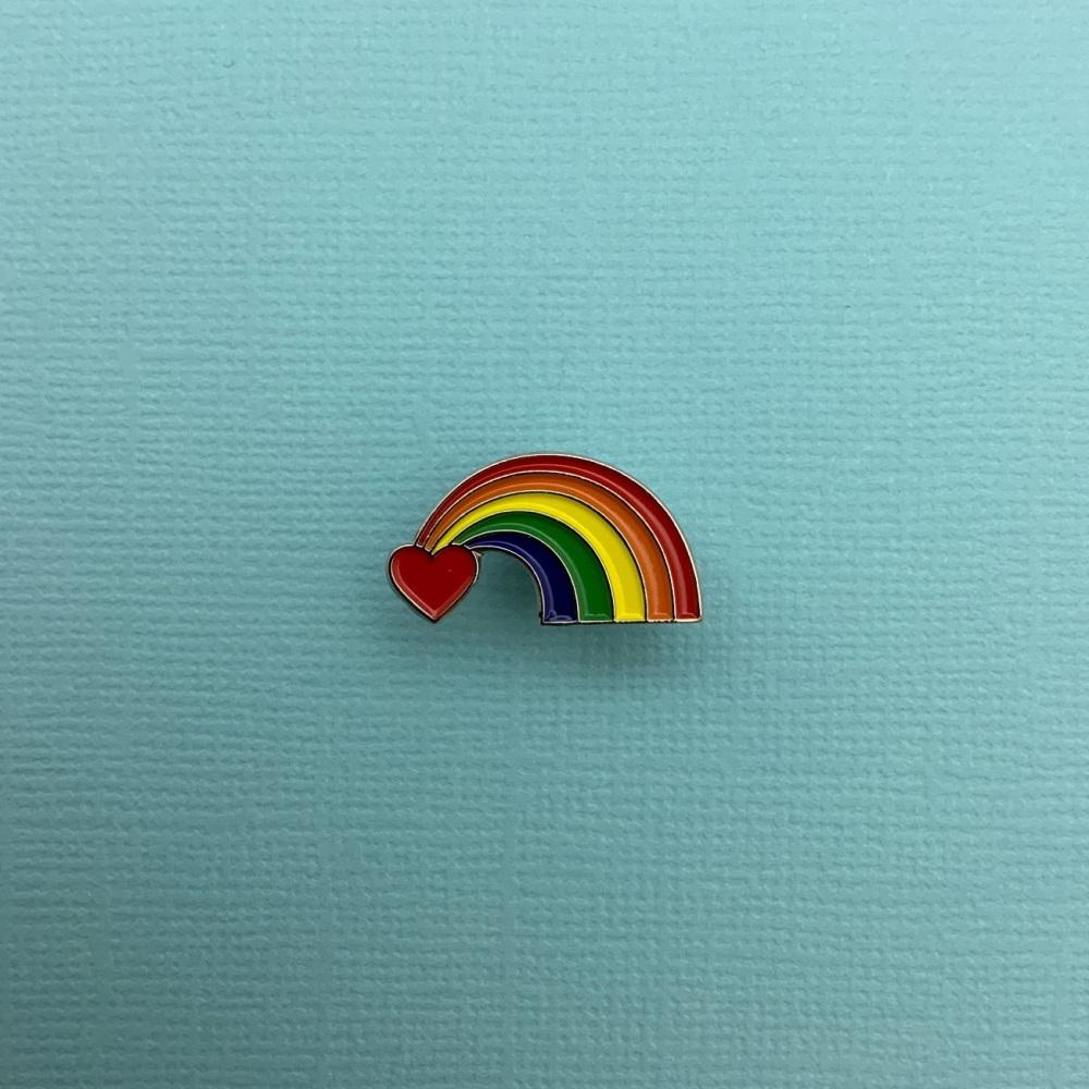 Rainbow Heart Enamel Pin Badge #0026
