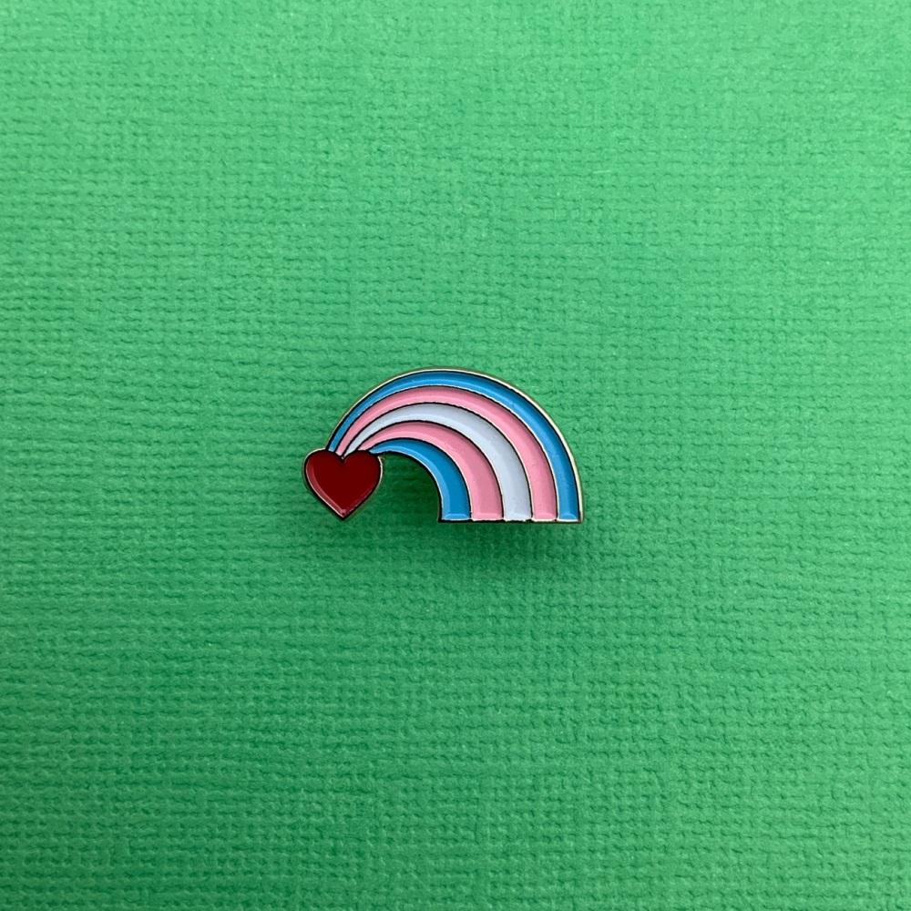 Pastel Rainbow Heart Enamel Metal Pin Badge #0130