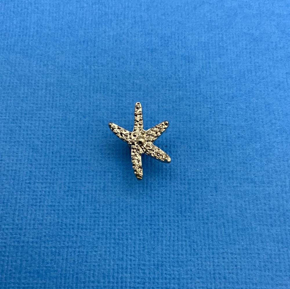 Silver Starfish Enamel Metal Pin Badge #0128