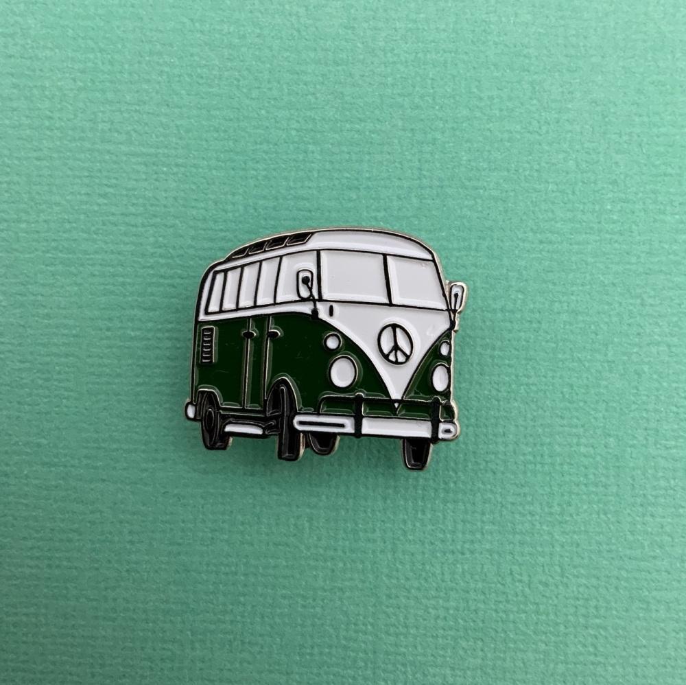 Dark Green Campervan Enamel Metal Pin Badge Camper #0135