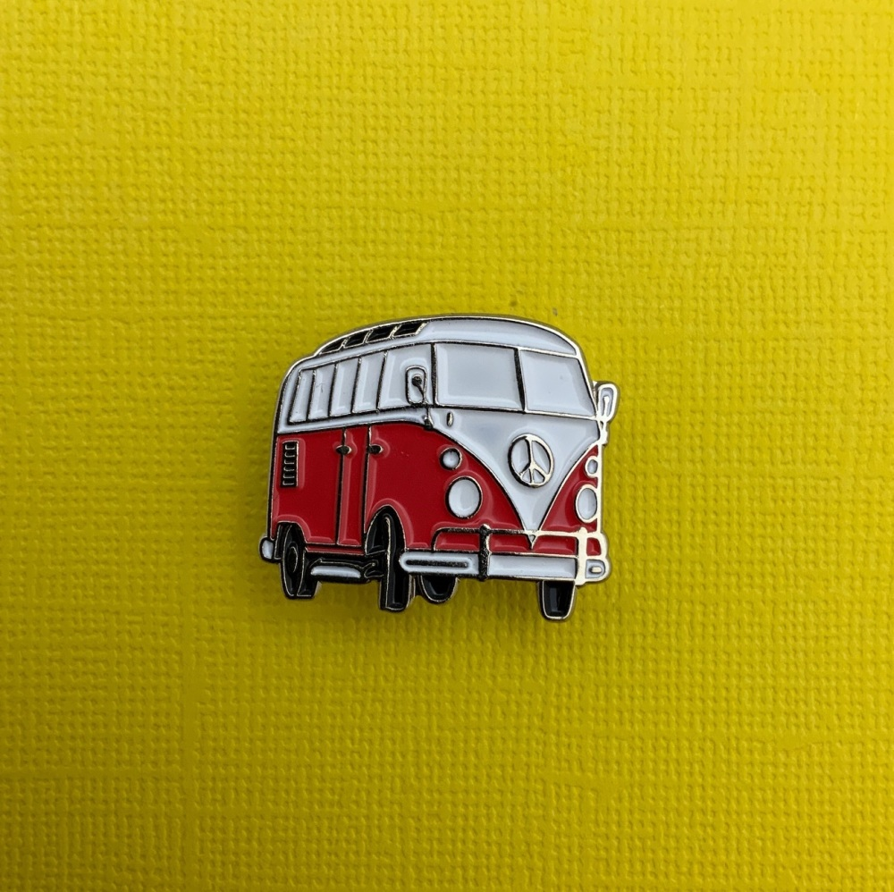 Red Campervan Enamel Metal Pin Badge #0136