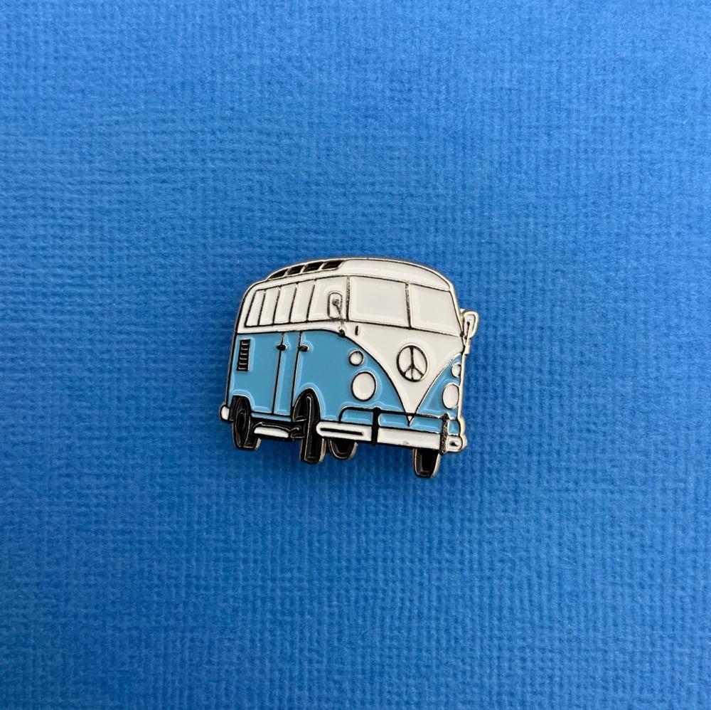 Light Blue Campervan Enamel Metal Pin Badge #0134