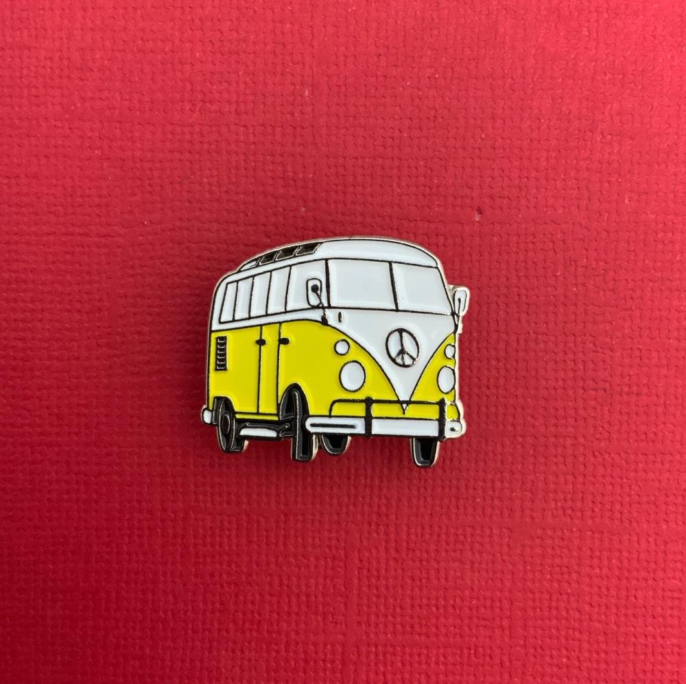 Yellow Campervan Enamel Metal Pin Badge #0132