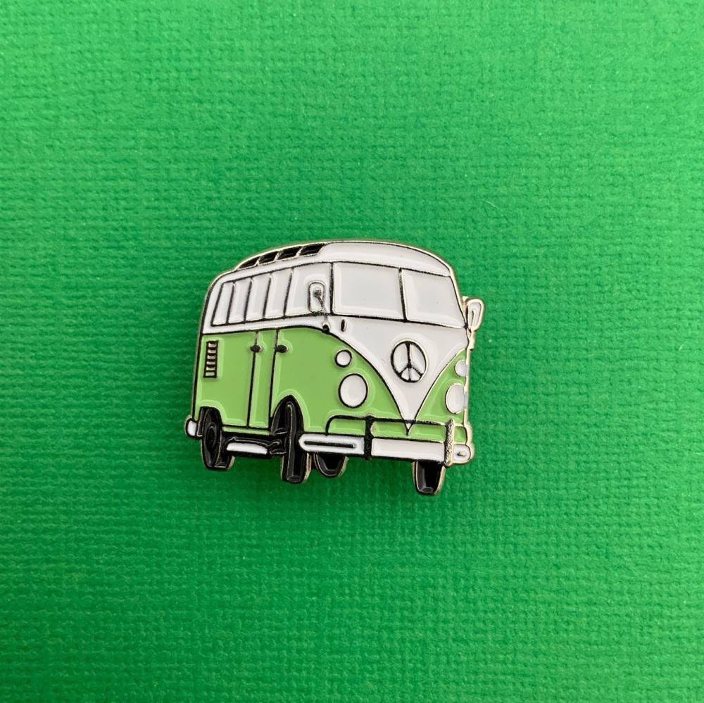 Light Green Campervan Enamel Metal Pin Badge #0137