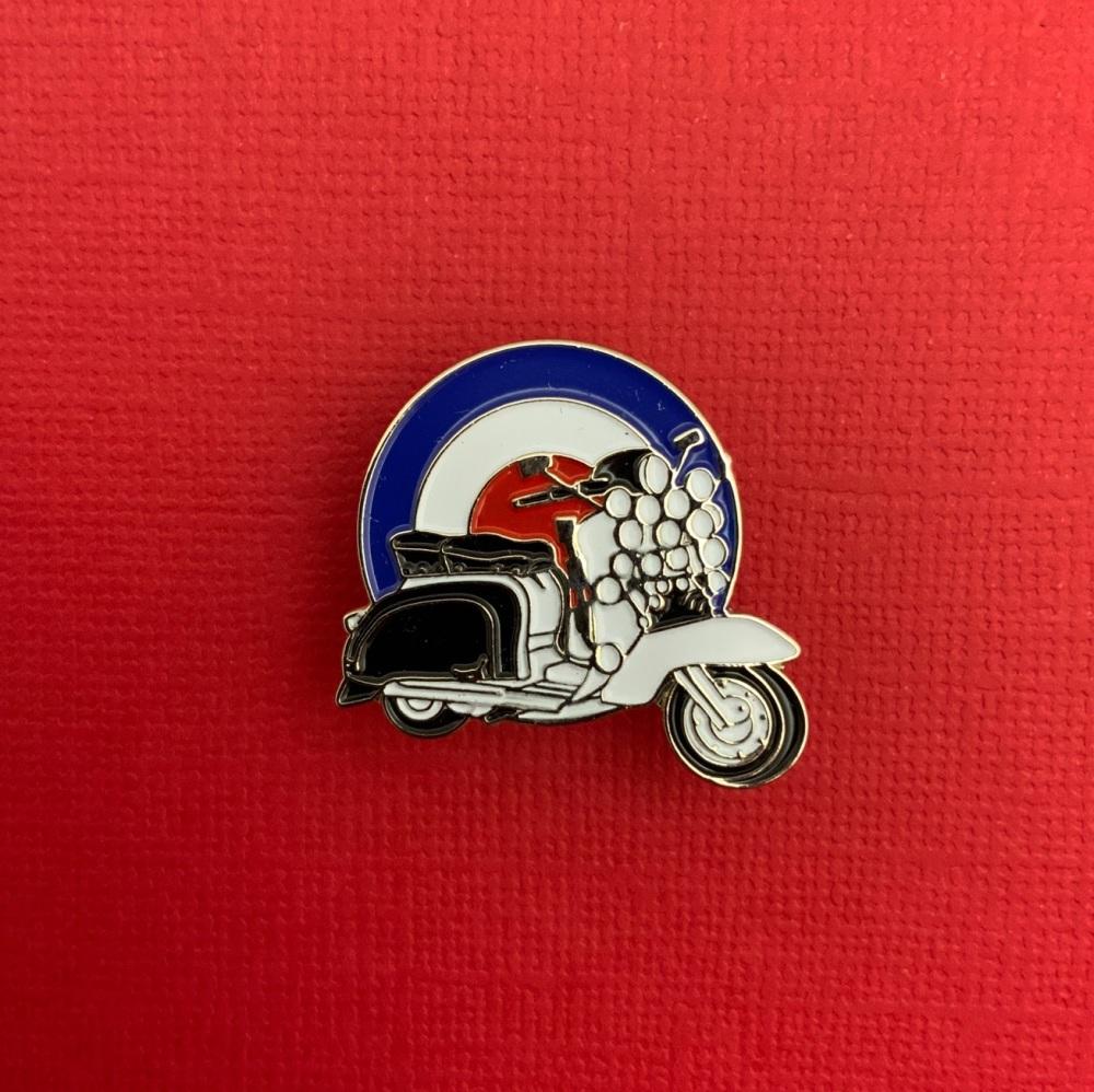 Mod Scooter On Roundel Enamel Pin Badge #0003