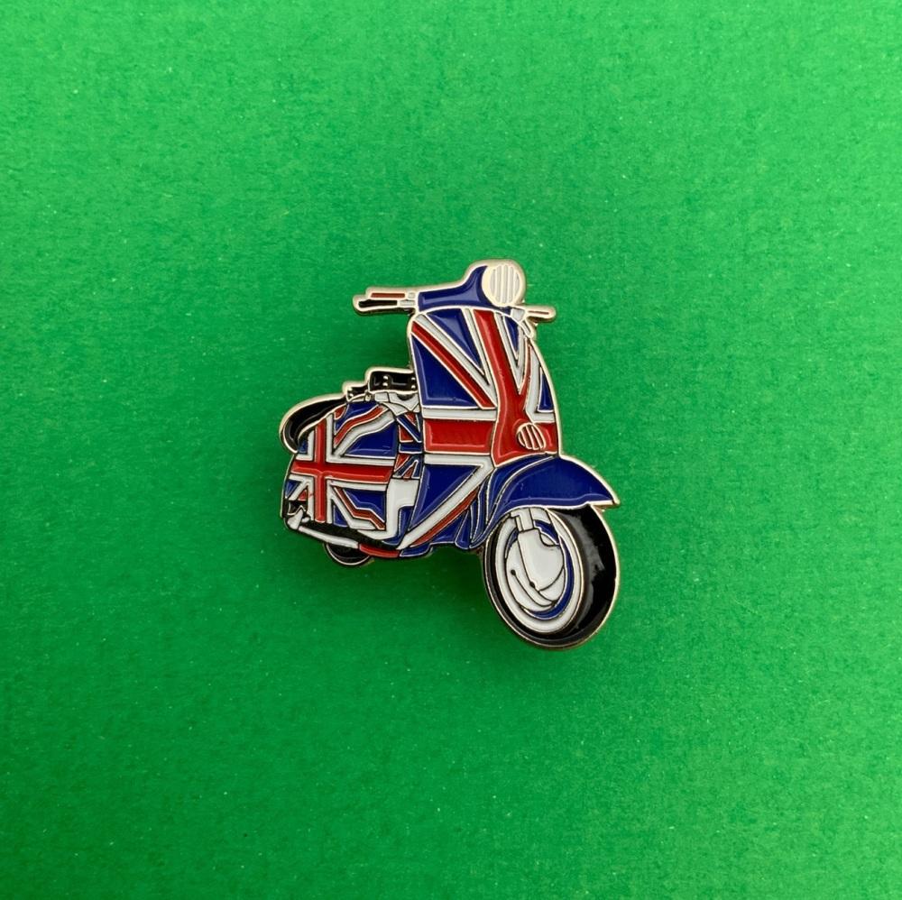 Union Jack Scooter Enamel Pin Badge #0007