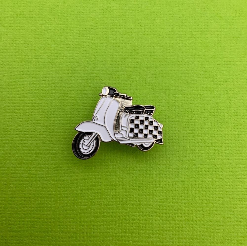 Checkerboard Scooter Enamel Pin Badge #0018
