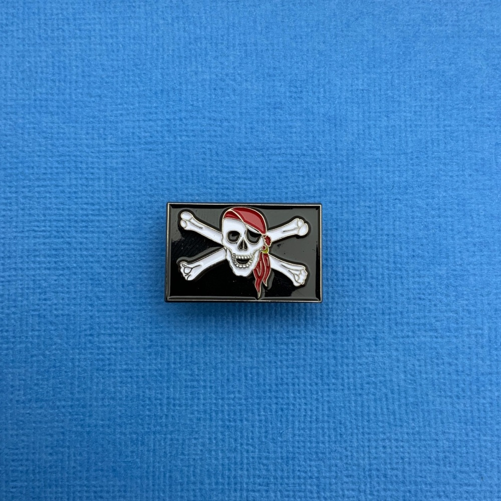 #0112 Jolly Roger Pirate Flag Enamel Metal Pin Badge