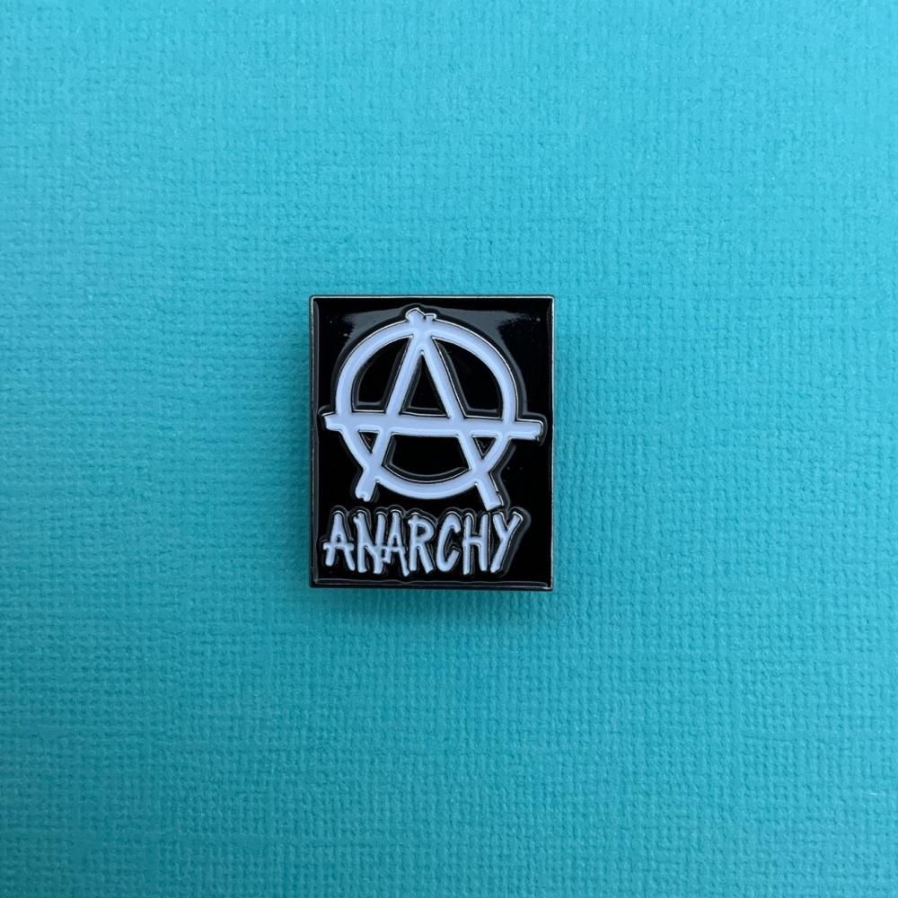 #0115 Anarchy Biker Enamel Metal Pin Badge