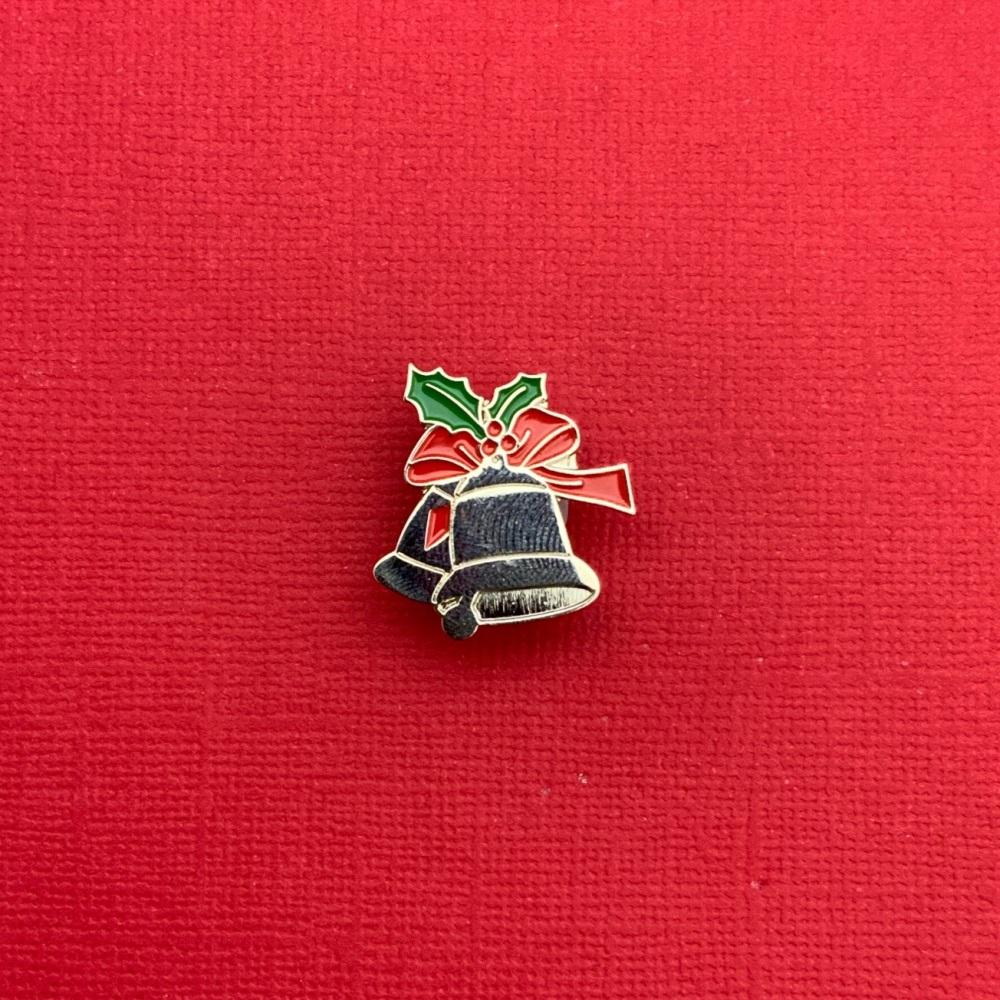 Shiny Silver Christmas Bells Enamel Pin Badge