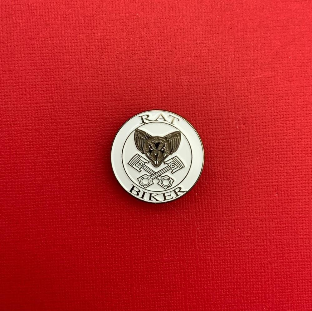 Rat Biker Enamel Pin Badge #0052