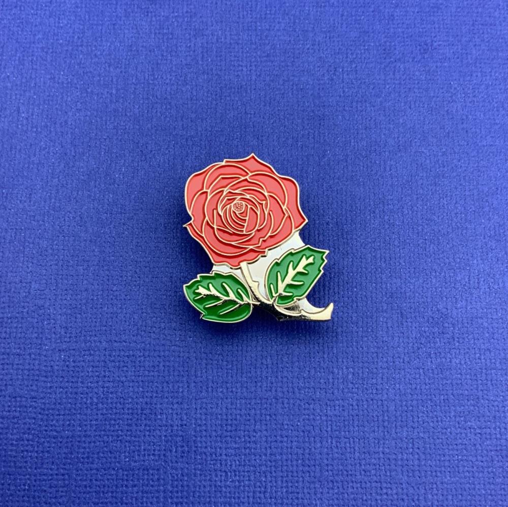 #0113 Red Rose Flower Floral Enamel Metal Pin Badge