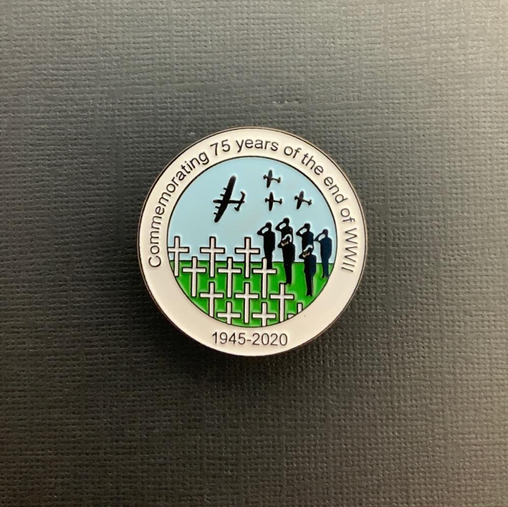 #0094 75th Anniversary End Of WW2 Enamel Metal Pin Badge