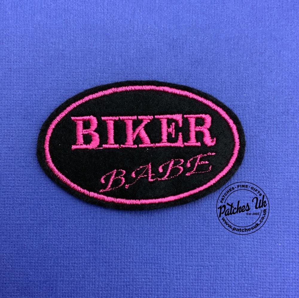 Biker Babe Sew On Biker Embroidered Text Slogan Felt Biker Patch #0006