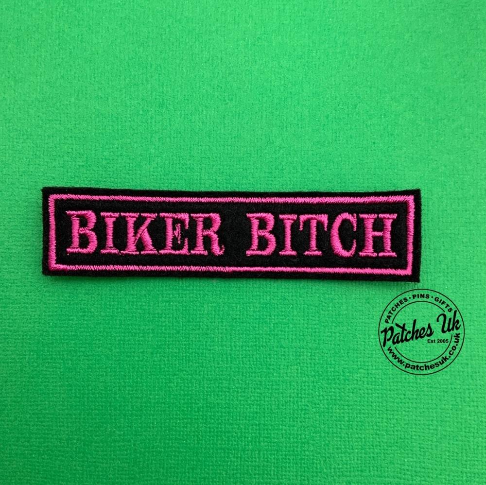 Biker Bitch Embroidered Felt Slogan Patch #0014