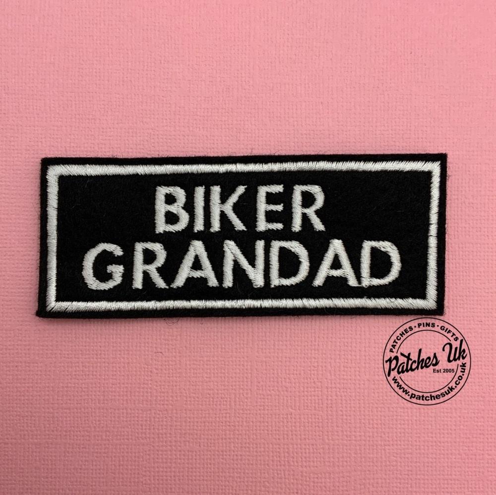 Biker Grandad - 2 line felt patch #0016
