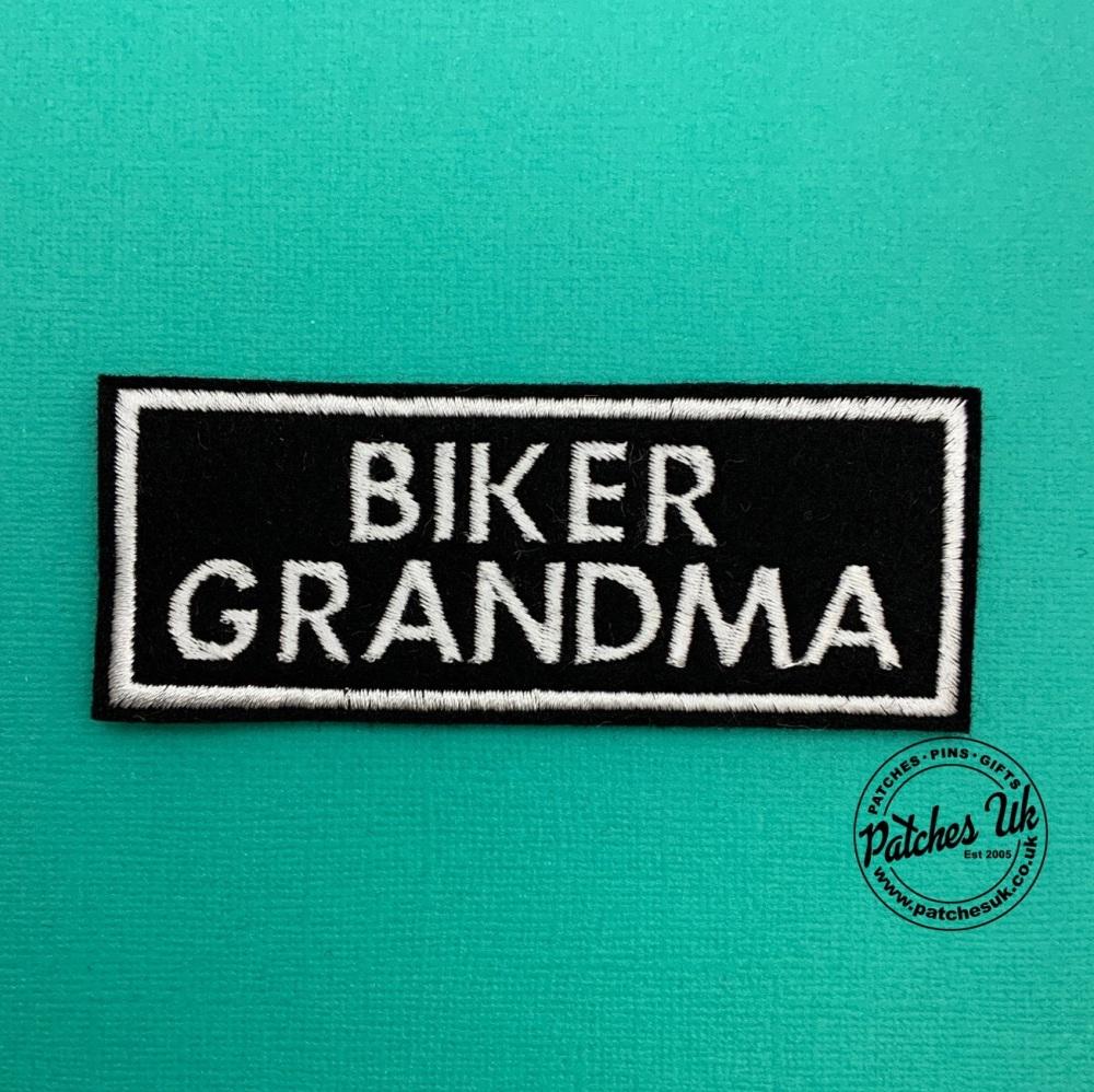 Biker Grandma - 2 line felt patch #0026