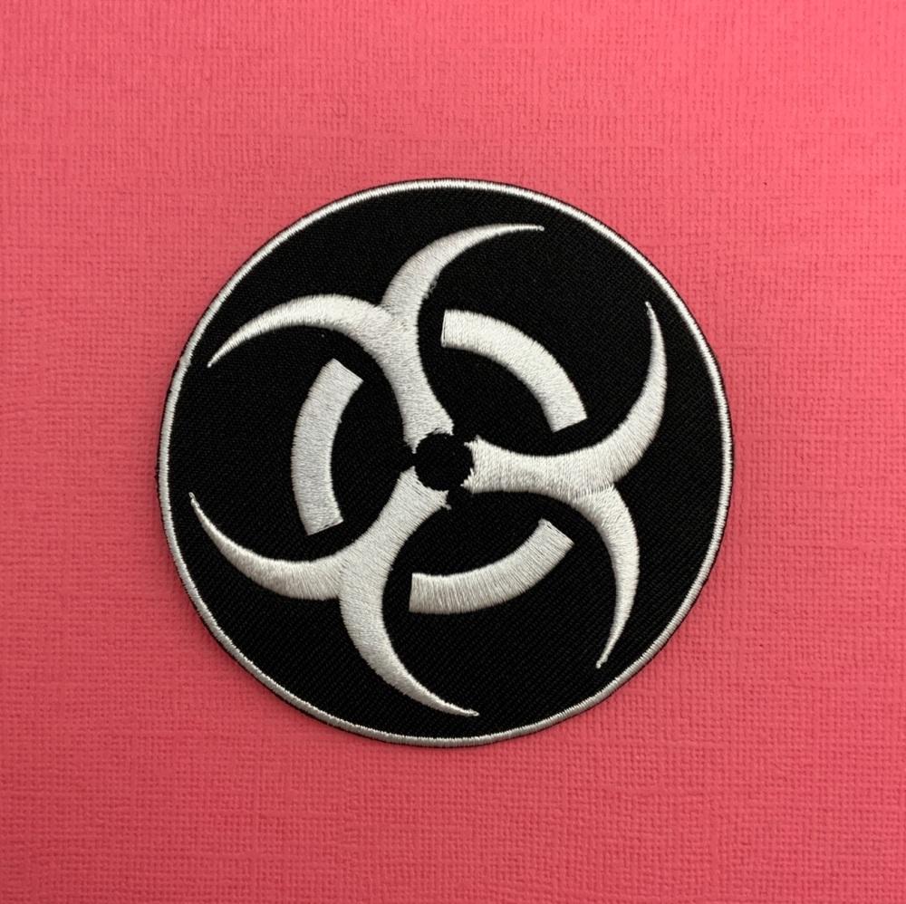 Bio Hazard Symbol Embroidered Fabric Patch #0096