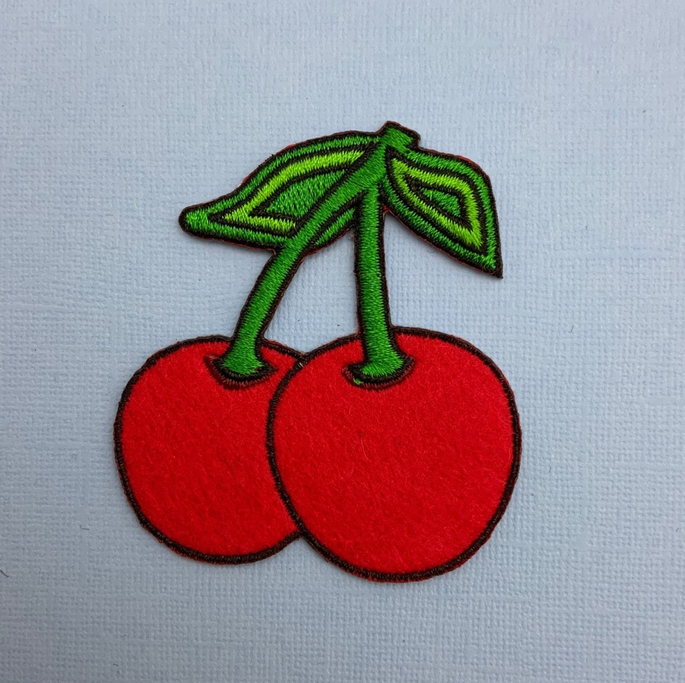 Cherries Fabric Embroidered Patch #0076
