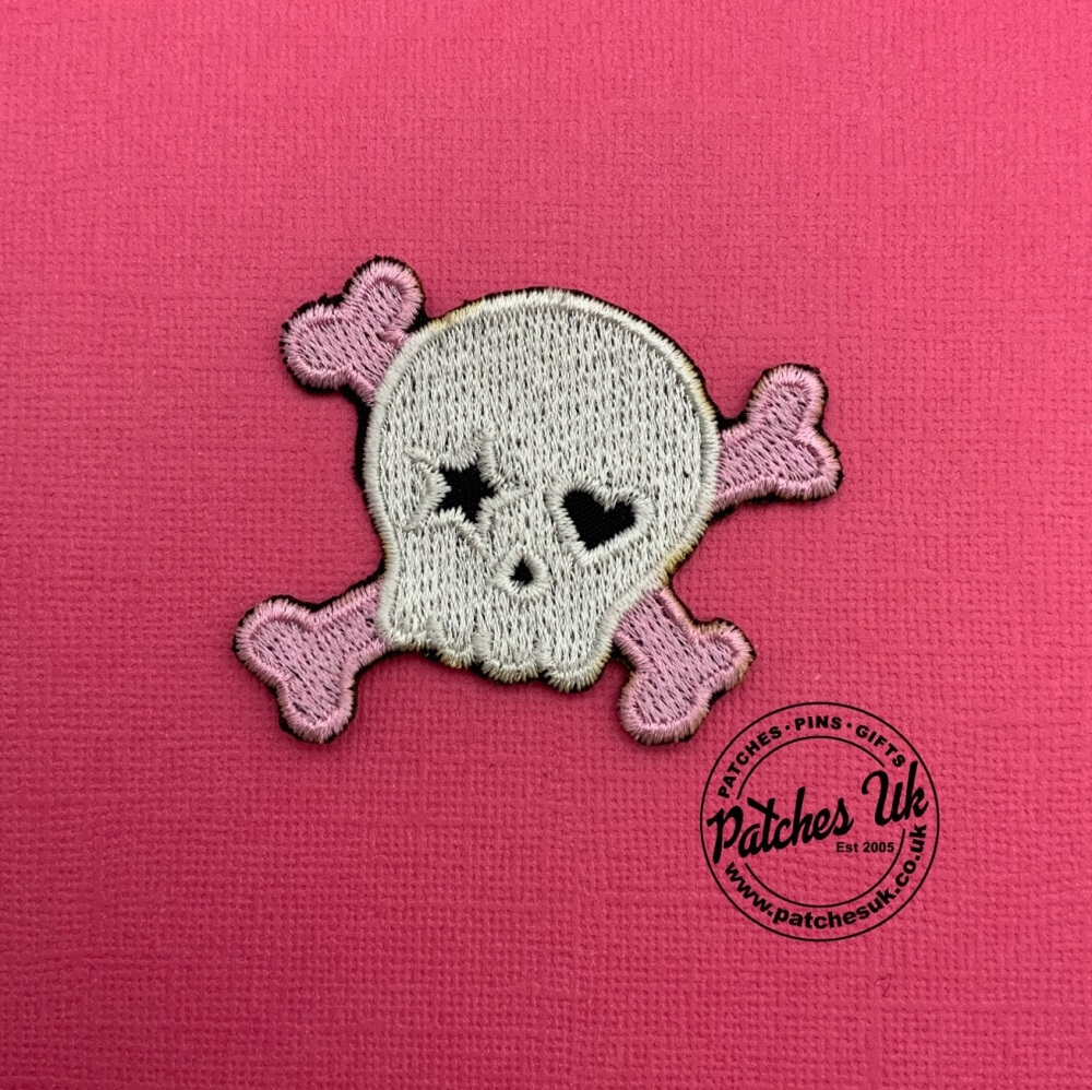 Cute Skull and Crossbones Girls Jacket Embroidered Twill Patch Iron On #011