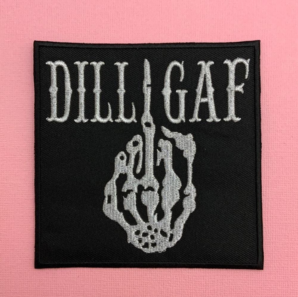 DILLIGAF Fabric Embroidered Patch Skeleton middle Finger #0063