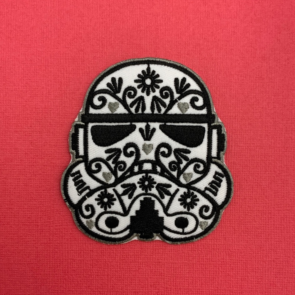 Floral Stormtrooper Embroidered Fabric Patch #0086