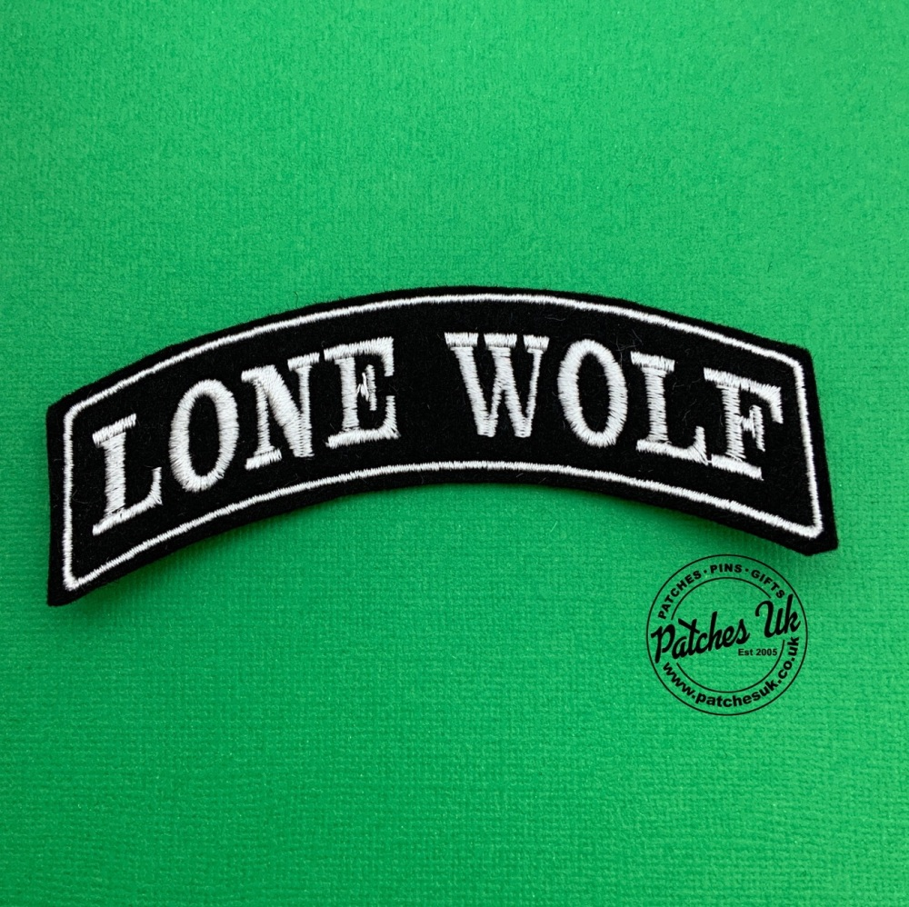 Lone Wolf - Top Rocker - Embroidered Felt Patch #0043