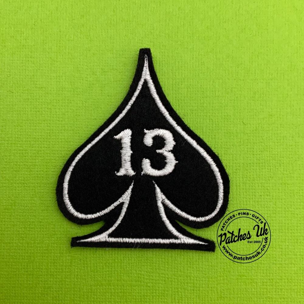 Lucky No. 13 - Ace Felt Embroidered Biker Patch #0003