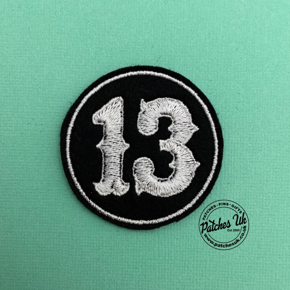 Lucky No. 13 - Circle Felt Embroidered Biker Patch #0001