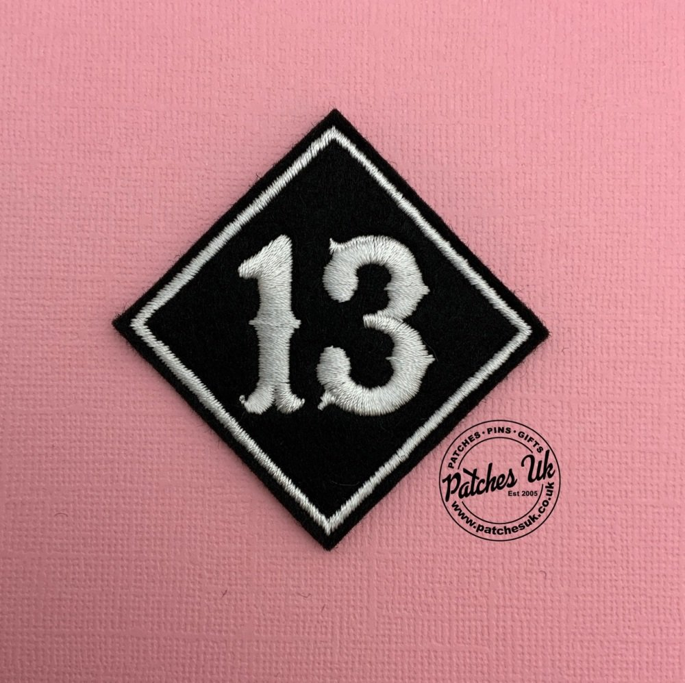 Lucky No. 13 - Diamond Felt Embroidered Biker Patch #0002